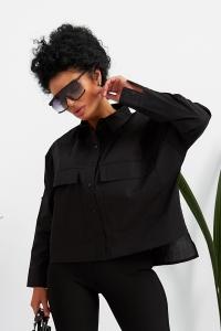 Стильная женская рубашка чёрная 1374