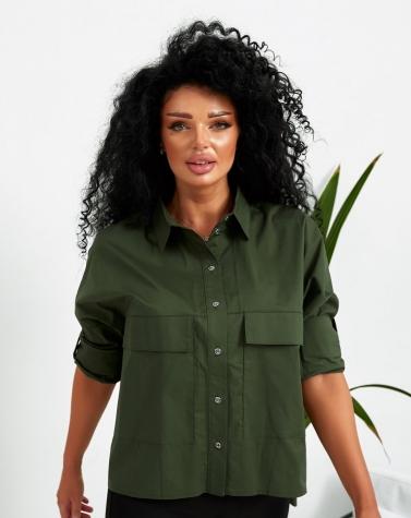 Стильная женская рубашка хаки 1374