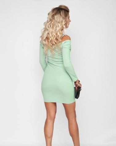 Платье с цепочками ментоловое 7960