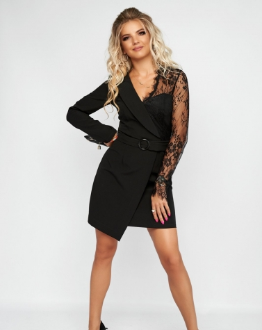 Элегантное чёрное платье с кружевом 7962