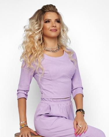 Комфортный трикотажный костюм лиловый 6000