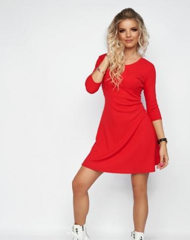 Расклешенное красное платье 7963