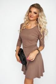 Расклешенное  платье цвета капучино 7963