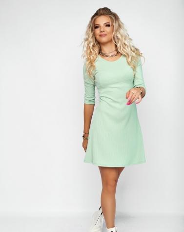 Расклешенное ментоловое платье 7963