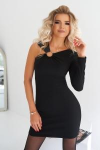Платье на одно плечо чёрное 7965