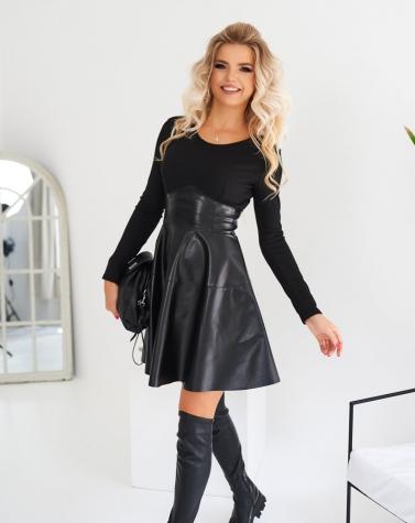 Комбинированное платье чёрное 7966
