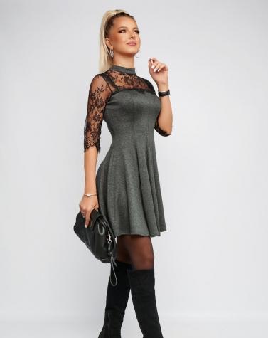 Трикотажное платье с кружевом 7971