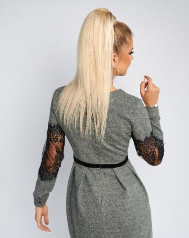 Тёплое расклешенное платье 7850