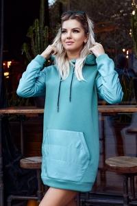Утеплённое платье-худи oversize ментоловое 7923
