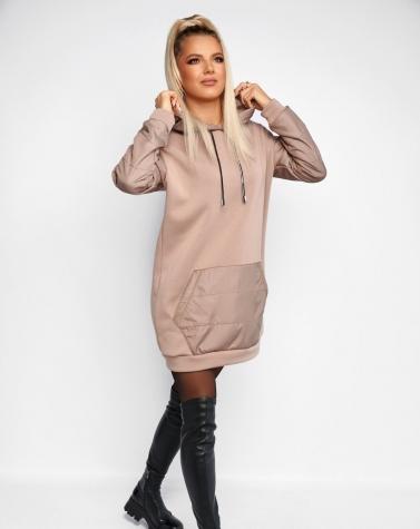 Утеплённое платье-худи oversize бежевое 7923