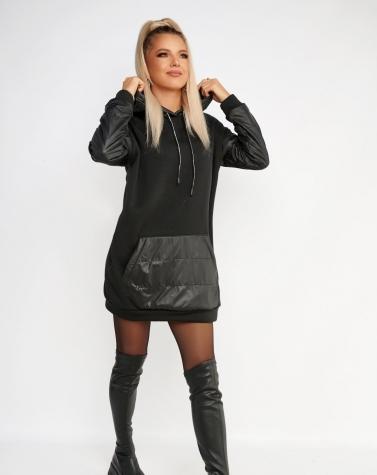Утеплённое платье-худи oversize чёрное 7923