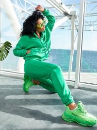 Тёплый спортивный костюм на флисе зелёный 6002